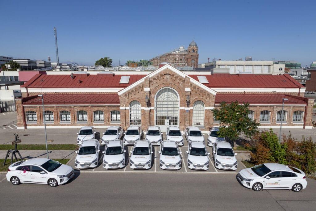 Wiener Netze E-Fahrzeugflotte der Marke Hyundai
