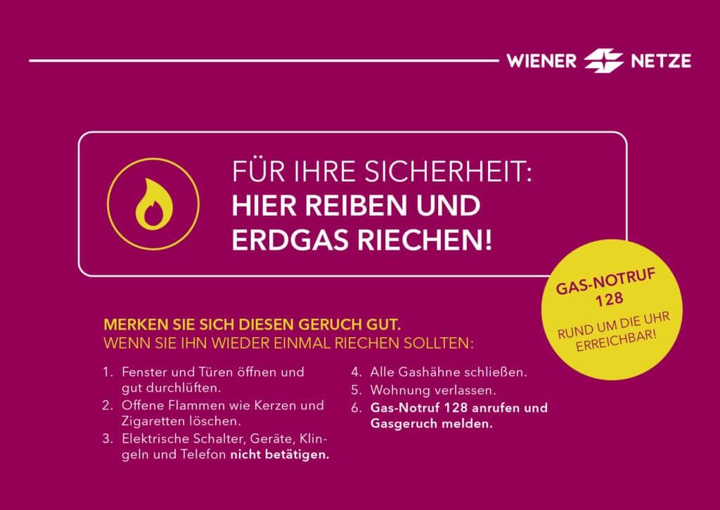Abbildung der Wiener Netze Gasgeruchskarte Vorderseite