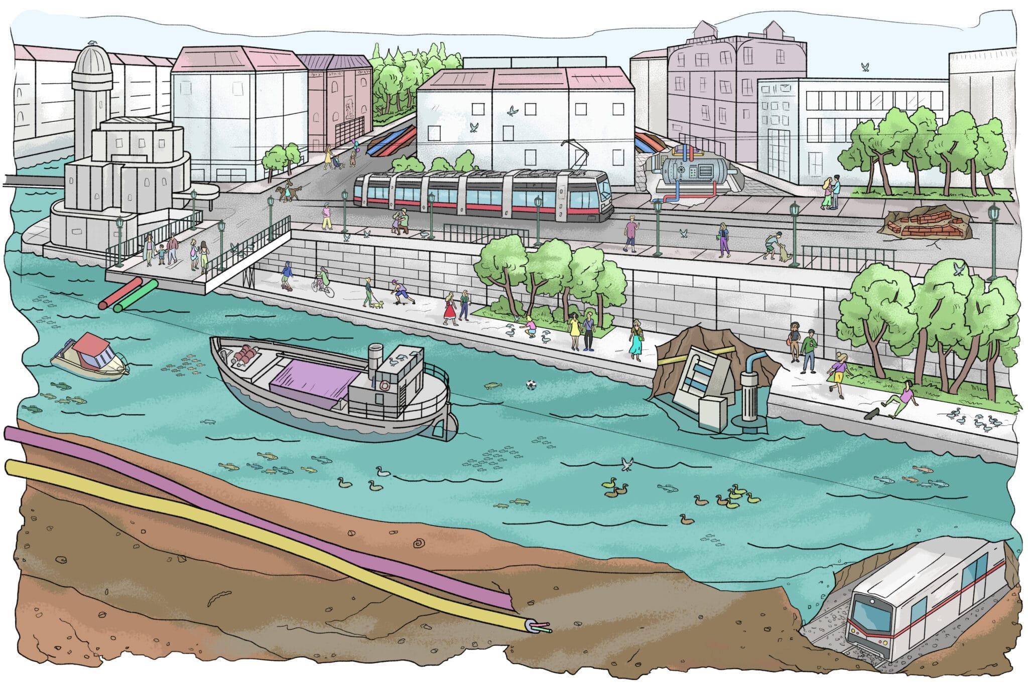 Illustration Donaukanal Wien